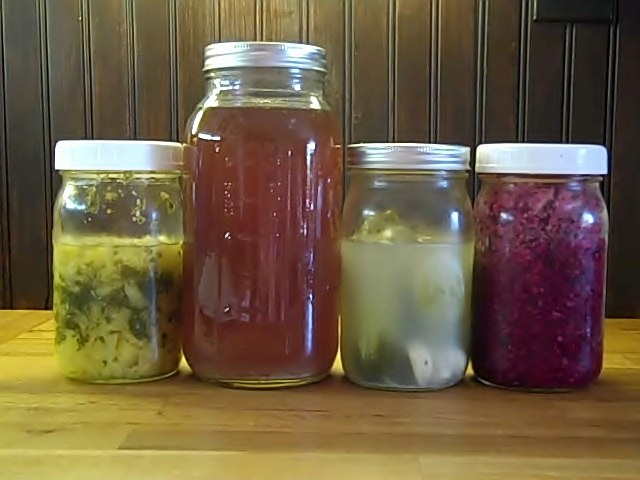 Lacto-Fermented Pineapple Chutney, Sorghum Ale, Dill Pickles, and Mixed Veggies