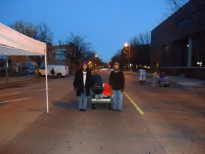 Setting up the market with my husband's help on a cold October morning.